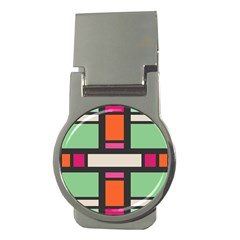 Rectangles Cross Money Clip (round) by LalyLauraFLM