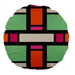 Rectangles Cross Large 18  Premium Round Cushion  by LalyLauraFLM