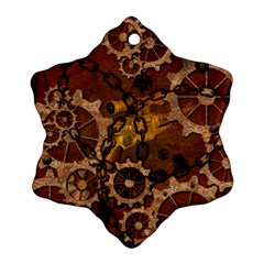 Steampunk In Rusty Metal Snowflake Ornament (2-Side) by FantasyWorld7