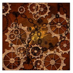 Steampunk In Rusty Metal Large Satin Scarf (Square) by FantasyWorld7