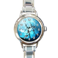 Underwater World With Shipwreck And Dolphin Round Italian Charm Watches by FantasyWorld7
