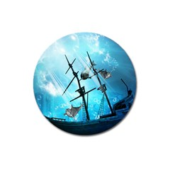 Underwater World With Shipwreck And Dolphin Magnet 3  (round) by FantasyWorld7