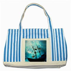 Underwater World With Shipwreck And Dolphin Striped Blue Tote Bag  by FantasyWorld7