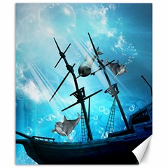 Underwater World With Shipwreck And Dolphin Canvas 20  X 24   by FantasyWorld7