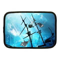 Underwater World With Shipwreck And Dolphin Netbook Case (medium)  by FantasyWorld7