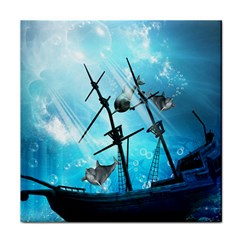 Underwater World With Shipwreck And Dolphin Face Towel by FantasyWorld7