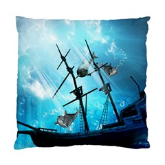 Underwater World With Shipwreck And Dolphin Standard Cushion Cases (two Sides)  by FantasyWorld7