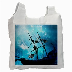 Underwater World With Shipwreck And Dolphin Recycle Bag (Two Side)  by FantasyWorld7