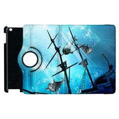 Underwater World With Shipwreck And Dolphin Apple iPad 2 Flip 360 Case by FantasyWorld7