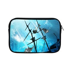 Underwater World With Shipwreck And Dolphin Apple Ipad Mini Zipper Cases by FantasyWorld7