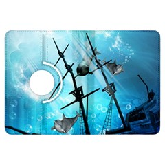 Underwater World With Shipwreck And Dolphin Kindle Fire Hdx Flip 360 Case by FantasyWorld7