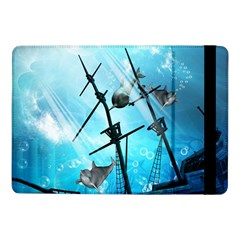 Underwater World With Shipwreck And Dolphin Samsung Galaxy Tab Pro 10.1  Flip Case by FantasyWorld7