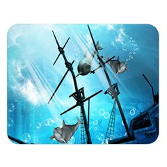 Underwater World With Shipwreck And Dolphin Double Sided Flano Blanket (large)  by FantasyWorld7