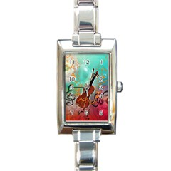 Violin With Violin Bow And Key Notes Rectangle Italian Charm Watches by FantasyWorld7