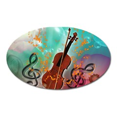 Violin With Violin Bow And Key Notes Oval Magnet by FantasyWorld7