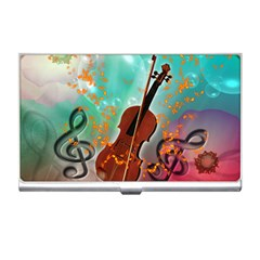 Violin With Violin Bow And Key Notes Business Card Holders by FantasyWorld7