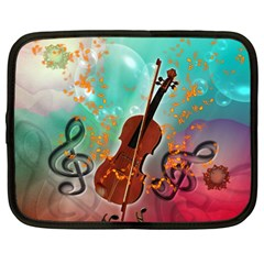 Violin With Violin Bow And Key Notes Netbook Case (large)	 by FantasyWorld7