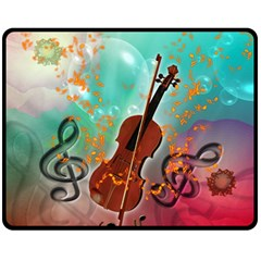 Violin With Violin Bow And Key Notes Fleece Blanket (Medium)