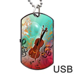 Violin With Violin Bow And Key Notes Dog Tag USB Flash (One Side) by FantasyWorld7