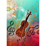 Violin With Violin Bow And Key Notes Heart Bottom 3D Greeting Card (7x5)  Inside