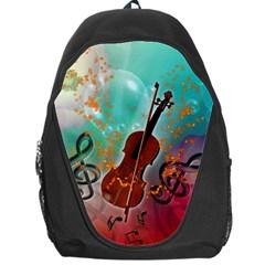 Violin With Violin Bow And Key Notes Backpack Bag by FantasyWorld7