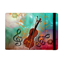 Violin With Violin Bow And Key Notes Apple Ipad Mini Flip Case by FantasyWorld7