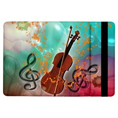 Violin With Violin Bow And Key Notes iPad Air Flip by FantasyWorld7