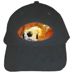Soccer With Fire And Flame And Floral Elelements Black Cap by FantasyWorld7