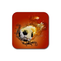 Soccer With Fire And Flame And Floral Elelements Rubber Square Coaster (4 Pack)  by FantasyWorld7