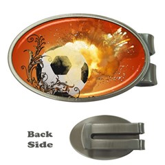 Soccer With Fire And Flame And Floral Elelements Money Clips (oval)  by FantasyWorld7