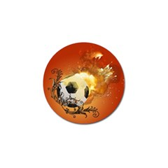 Soccer With Fire And Flame And Floral Elelements Golf Ball Marker by FantasyWorld7