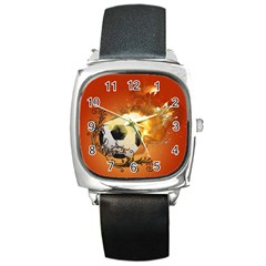 Soccer With Fire And Flame And Floral Elelements Square Metal Watches by FantasyWorld7