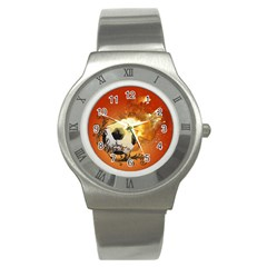 Soccer With Fire And Flame And Floral Elelements Stainless Steel Watches by FantasyWorld7