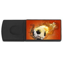 Soccer With Fire And Flame And Floral Elelements USB Flash Drive Rectangular (4 GB)  by FantasyWorld7