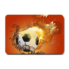 Soccer With Fire And Flame And Floral Elelements Small Doormat  by FantasyWorld7