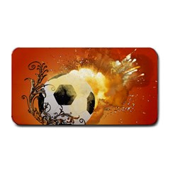 Soccer With Fire And Flame And Floral Elelements Medium Bar Mats by FantasyWorld7
