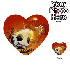 Soccer With Fire And Flame And Floral Elelements Multi Purpose Cards (heart)  by FantasyWorld7