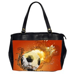 Soccer With Fire And Flame And Floral Elelements Office Handbags (2 Sides)  by FantasyWorld7