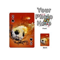 Soccer With Fire And Flame And Floral Elelements Playing Cards 54 (mini)  by FantasyWorld7
