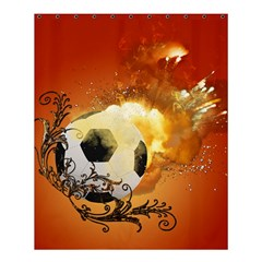 Soccer With Fire And Flame And Floral Elelements Shower Curtain 60  X 72  (medium)  by FantasyWorld7