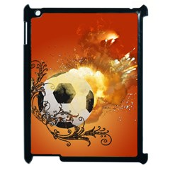 Soccer With Fire And Flame And Floral Elelements Apple Ipad 2 Case (black) by FantasyWorld7