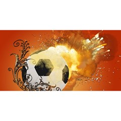 Soccer With Fire And Flame And Floral Elelements You Are Invited 3d Greeting Card (8x4)  by FantasyWorld7
