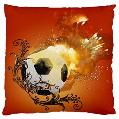 Soccer With Fire And Flame And Floral Elelements Large Cushion Cases (two Sides)  by FantasyWorld7