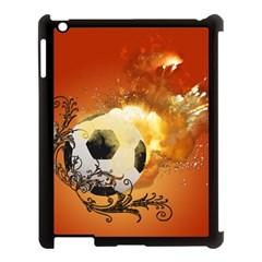 Soccer With Fire And Flame And Floral Elelements Apple Ipad 3/4 Case (black) by FantasyWorld7