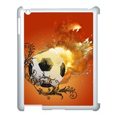 Soccer With Fire And Flame And Floral Elelements Apple Ipad 3/4 Case (white) by FantasyWorld7