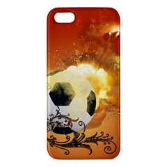 Soccer With Fire And Flame And Floral Elelements Apple Iphone 5 Premium Hardshell Case by FantasyWorld7