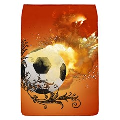 Soccer With Fire And Flame And Floral Elelements Flap Covers (s)  by FantasyWorld7