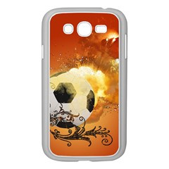 Soccer With Fire And Flame And Floral Elelements Samsung Galaxy Grand Duos I9082 Case (white) by FantasyWorld7