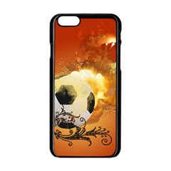 Soccer With Fire And Flame And Floral Elelements Apple Iphone 6/6s Black Enamel Case by FantasyWorld7