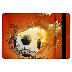 Soccer With Fire And Flame And Floral Elelements Ipad Air 2 Flip by FantasyWorld7